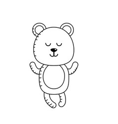 Line cute bear boy wild animal character vector