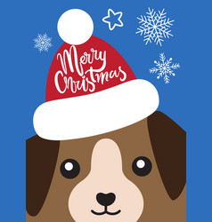 merry christmas cover with dog in santa claus hat vector image