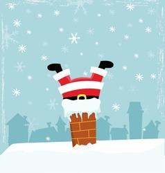 Santa Stuck In Chimney vector image vector image