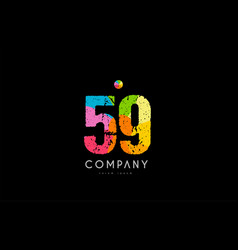 59 number grunge color rainbow numeral digit logo vector image