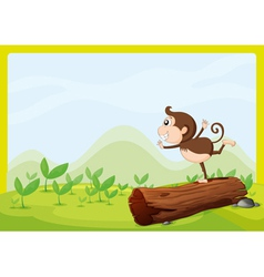A monkey dancing on wood vector