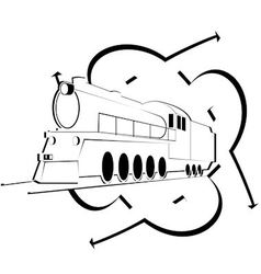 Abstract icon with an old locomotive vector image