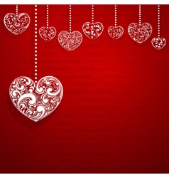 Background with hanging hearts vector