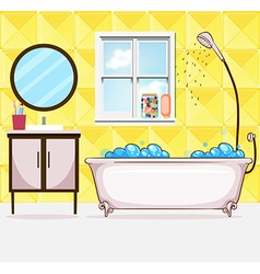 Bathroom with tub and shower vector image