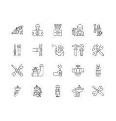 Boiler installations and repairs line icons signs vector