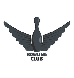 Bowling prize logo flat style vector