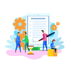 Business partner signing contract vector