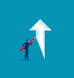 businessman drawing outline ascending arrow vector image