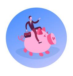 Businessman suitcase riding piggy bank money vector