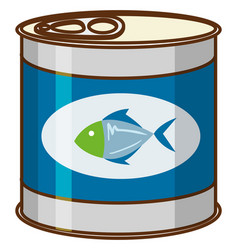 Canned food with tuna fish on product logo vector