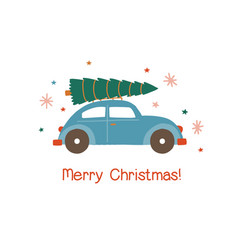 car with christmas tree flat vector image