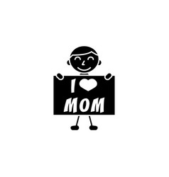 Child i love mom vector