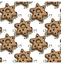 Christmas pattern with gingerbread cookies vector