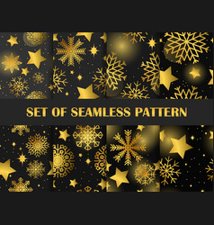 christmas seamless pattern set golden stars and vector image