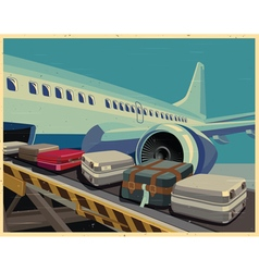 Civilian aircraft and baggage old poster vector