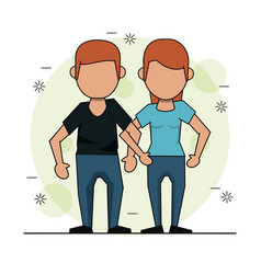 Color background with faceless couple in casual vector