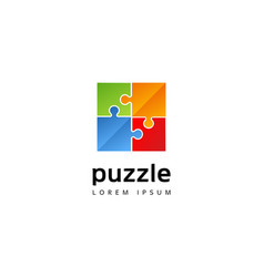 colorful puzzle logo sign symbol icon vector image