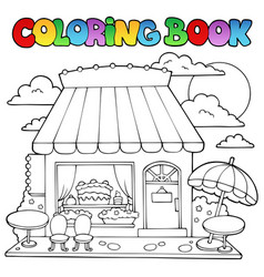 Coloring book cartoon candy store vector