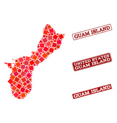 Composition of red mosaic map of guam island and vector