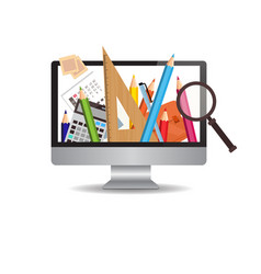 Computer monitor with image of school writing vector
