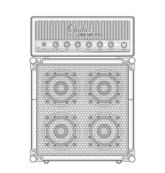 Contour graphic electric guitar combo amplifier vector