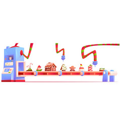 Conveyor with christmas candy and sweets factory vector