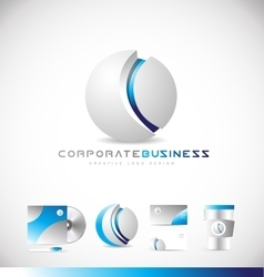 Corporate business sphere 3d grey logo icon design vector