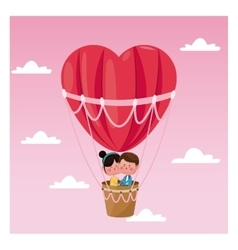 couple heart airballoon valentine day pink sky vector image