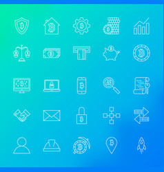 cryptocurrency line icons vector image