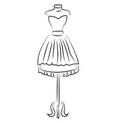 Dress hanging on white background vector