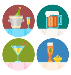 drink icons in flat design vector image