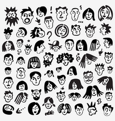 Faces people - icon set vector
