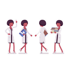 female black scientist walking vector image