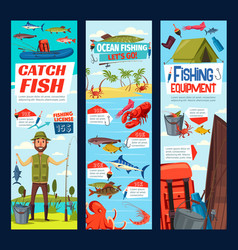 Fishing and fisher catch equipment tackles banners vector