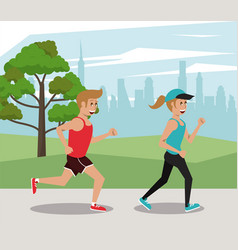 fitness people running at park vector image