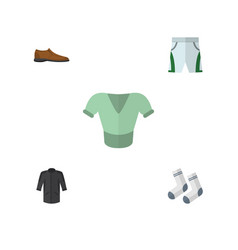 Flat clothes set of foot textile casual trunks vector