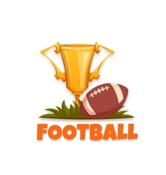 Football banner with ball and goblet vector