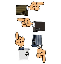 Four funny hands vector image