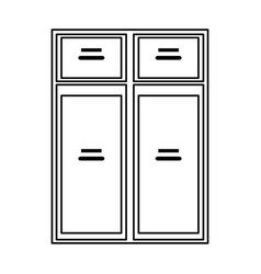 Furniture closet door front outline vector
