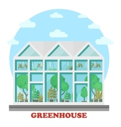 Glass greenhouse with plant in pot and tree vector