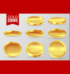 gold coins set realistic golden coin money cash vector image