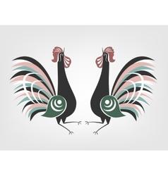 Gorodets cocks folk painting vector