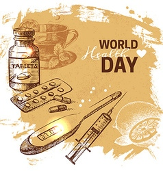 Hand drawn world health day background Sketch vector
