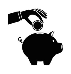 hand saver with piggy savings and coins vector image