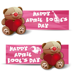 happy april fools day banners set vector image