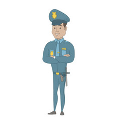 hispanic policeman standing with folded arms vector image