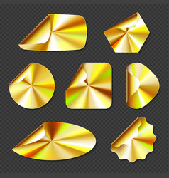Holographic golden stickers hologram labels vector