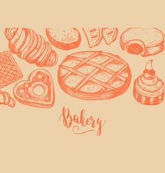 Homemade bakery product vintage background vector