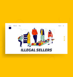 Illegal sellers characters business landing page vector