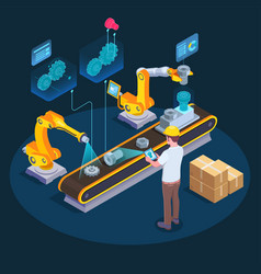 industrial augmented reality isometric vector image